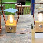 Retro Camping Tischleuchte Skandika Aurora mit Bambus und Kunstleder