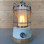 LED Campinglampe Skandika Kiruna mit Bambus und Hanfseil