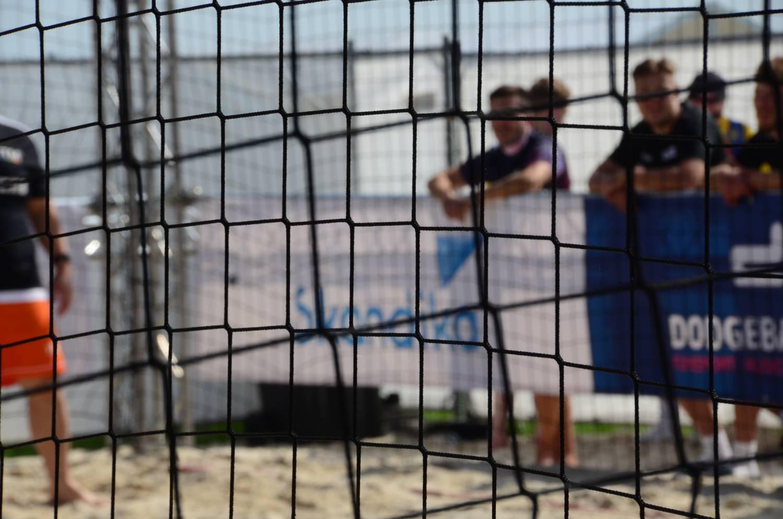 Werbebanner Skandika beim Dodgeball Beach Cup