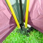 6 Personen Familienzelt Skandika Silverstone 6 XXL rose grün mit farbig markiertem Gestänge