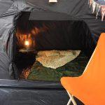 Schwarze Schlafkabine im Skandika 4 Personen Tunnelzelt Simo 4+