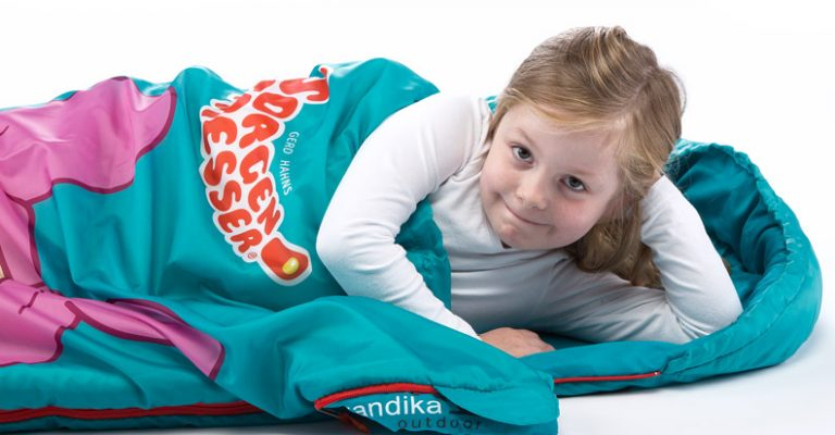 Petrolfarbener Skandika Sorgenfresser Schlafsack für Kinder Lilli
