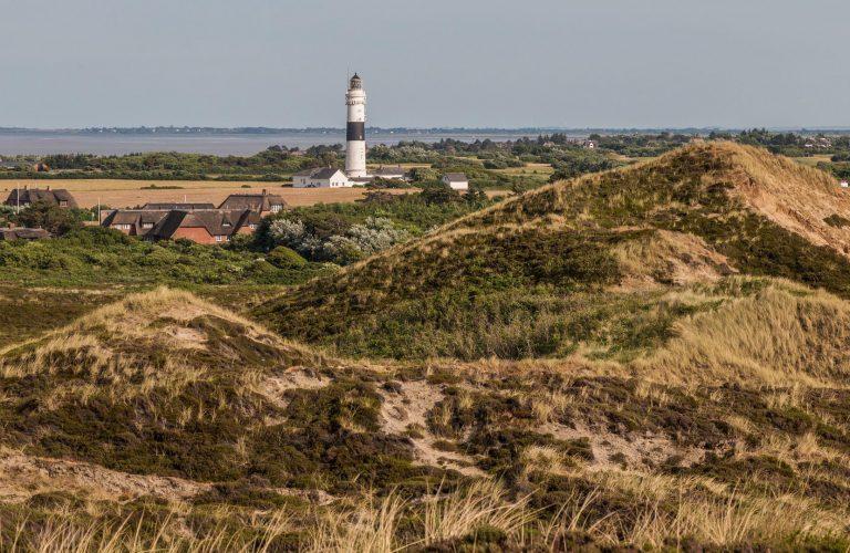 Sylter Leuchtturm zwischen Dünen und Meer im Hintergrund