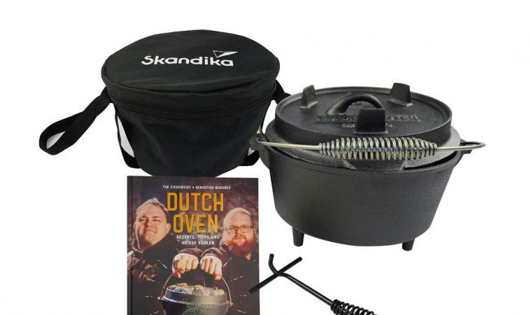 Skandika Dutch Oven mit BBCrew Kochbuch, Deckelheber und Tasche