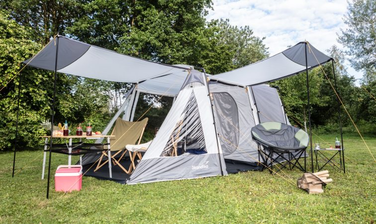 Skandika Heckzelt Pitea XL Up mit Campingmöbel